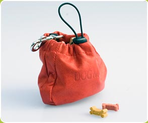 Red leather hip treat bag with clasp for dogs