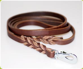 Long Brown Leather Dog Lead - Dog Moda Leads