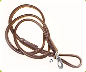Brown Rolled Leather Dog Lead - Dog Moda Leads