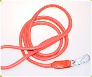 Red Rolled Leather Dog Lead - Dog Moda Leads