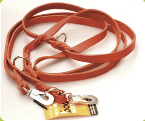 Police Style Red Leather Dog Training Lead - 2.7 meter /(9 ft) - Dog Moda Police Style Training Leads