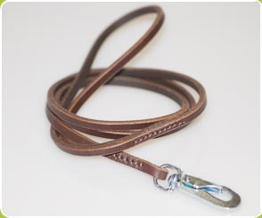 Brown Leather Show Lead - Dog Moda Leads